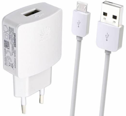 HW-050100E2W Huawei USB Cestovní nabíječka + microUSB Datový Kabel White (Bulk)