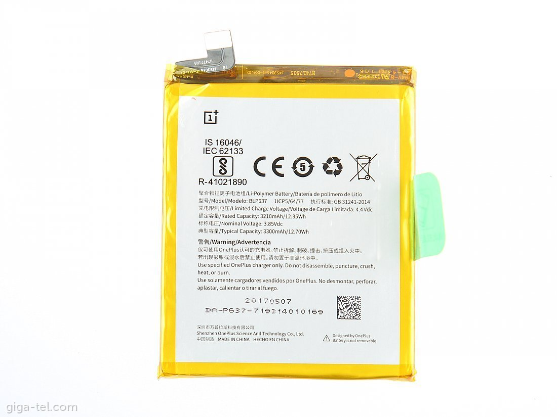 BLP637 ONE Plus 5 Baterie 3300mAh Li-Pol (Bulk)