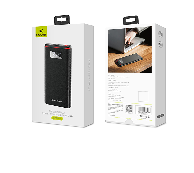 USAMS US-CD62 Power Bank Dual USB LED Fast Charging 10000mAh Black (EU Blister)