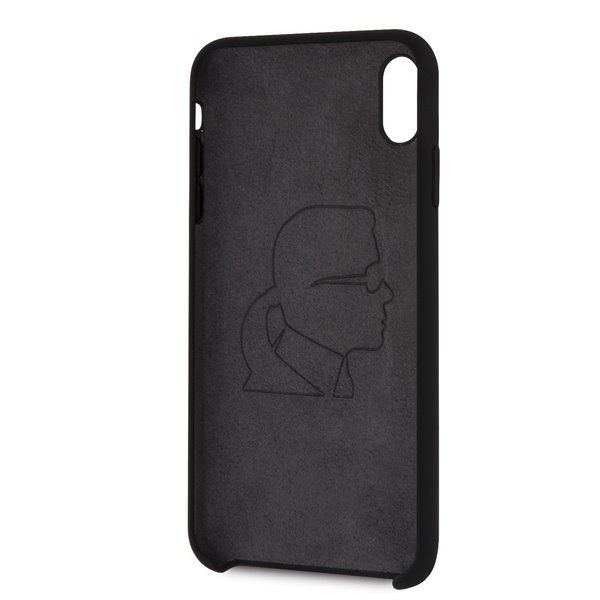 KLHCI61SLBKS Karl Lagerfeld Silver Logo Silicone Case Black pro iPhone XR