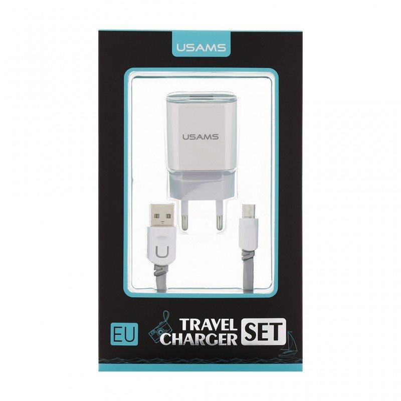 USAMS CC023 Dual 2.4A USB Cestovní nabíječka + U-Trans Type C Kabel White/Grey (EU Blister)