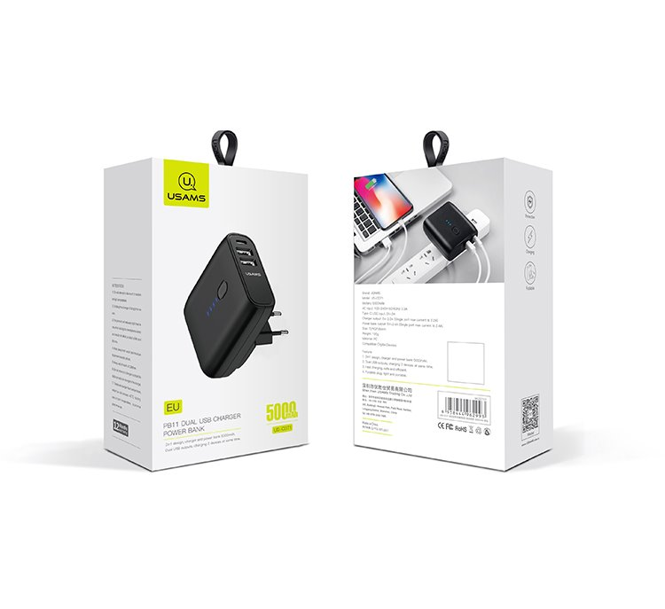 USAMS US-CD71 Power Bank + nabíječka 5000mAh Black (EU Blister)