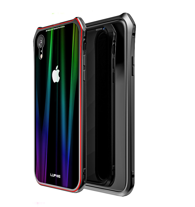 Luphie Aurora Snaps Magnetic Aluminium Hard Case Glass Black/Red pro iPhone XR