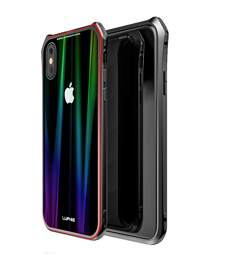 Luphie Aurora Snaps Magnetic Aluminium Hard Case Glass Black/Red pro iPhone XS Max