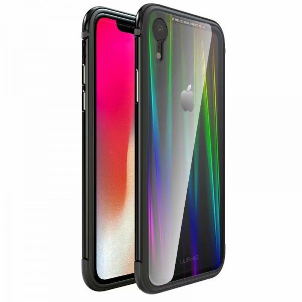 Luphie Aurora Condom Aluminium Frame + TPU Case Black Crystal pro iPhone XR  empty a22e9ec85e6