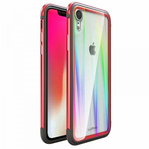 Luphie Aurora Condom Aluminium Frame + TPU Case Red/Crystal pro iPhone XR