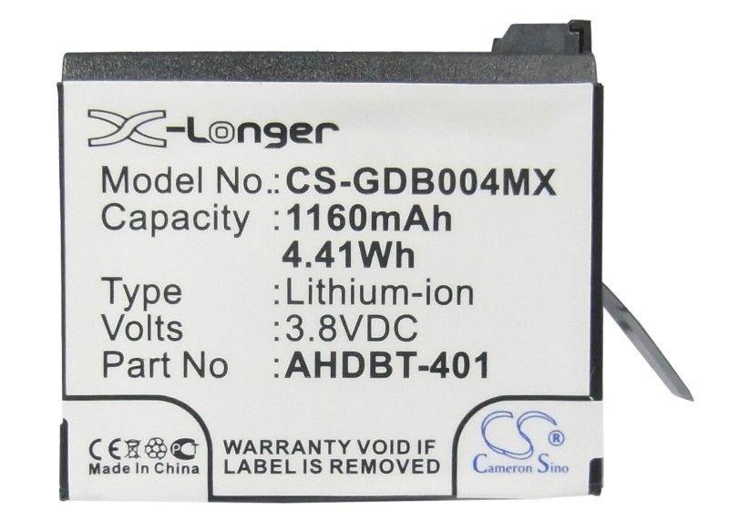 CS-GDB004MX Baterie 1160mAh Li-Ion pro GoPro Hero 4/4+