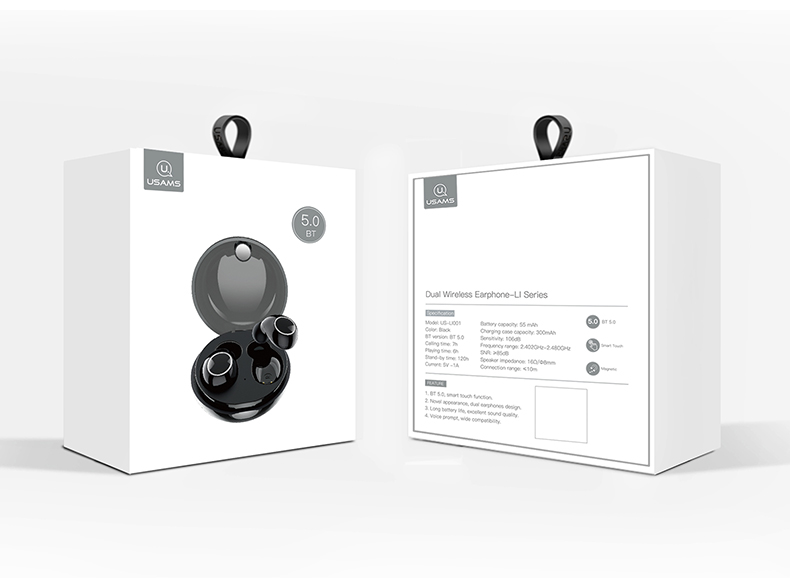 USAMS LI Dual Stereo TWS Wireless Headset Black