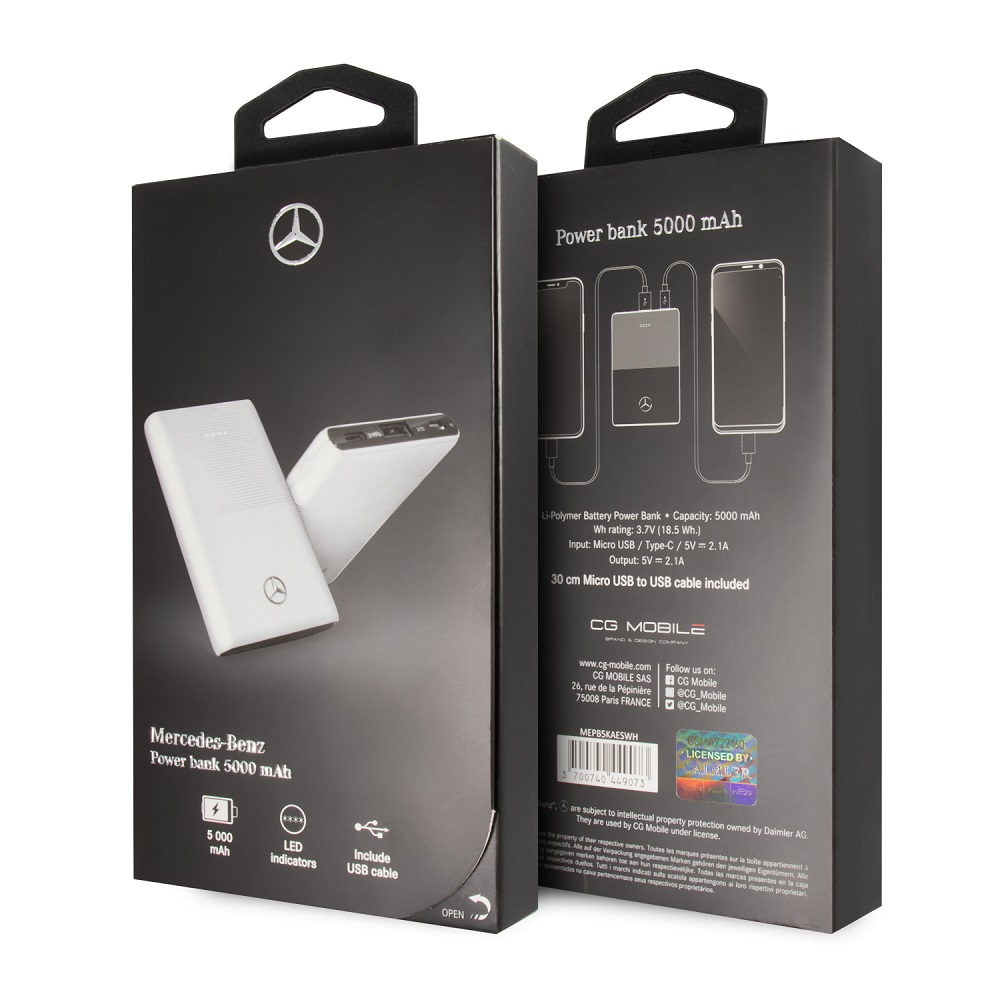 MEPB5KAESWH Mercedes PowerBank 5000mAh White
