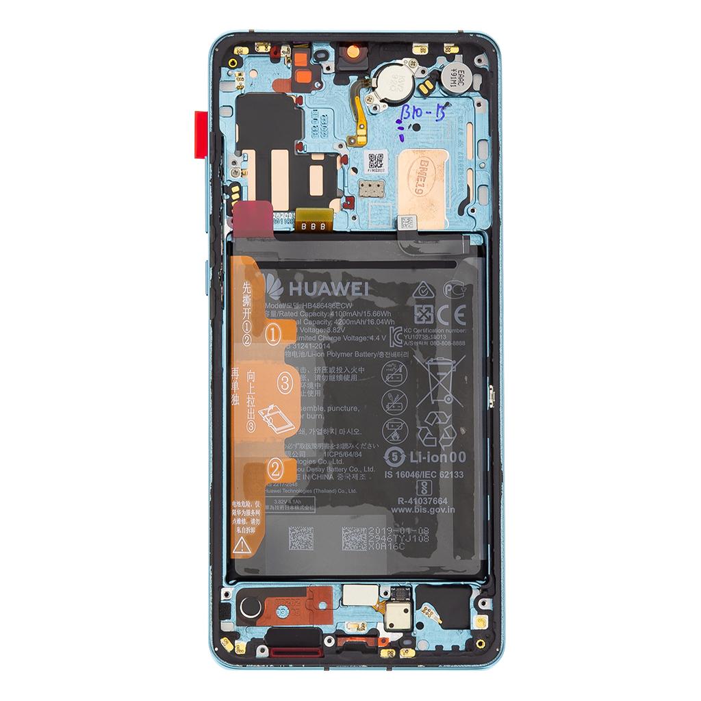 Huawei P30 PRO LCD Display + Dotyková Deska + Přední Kryt Aurora Blue (Service Pack)