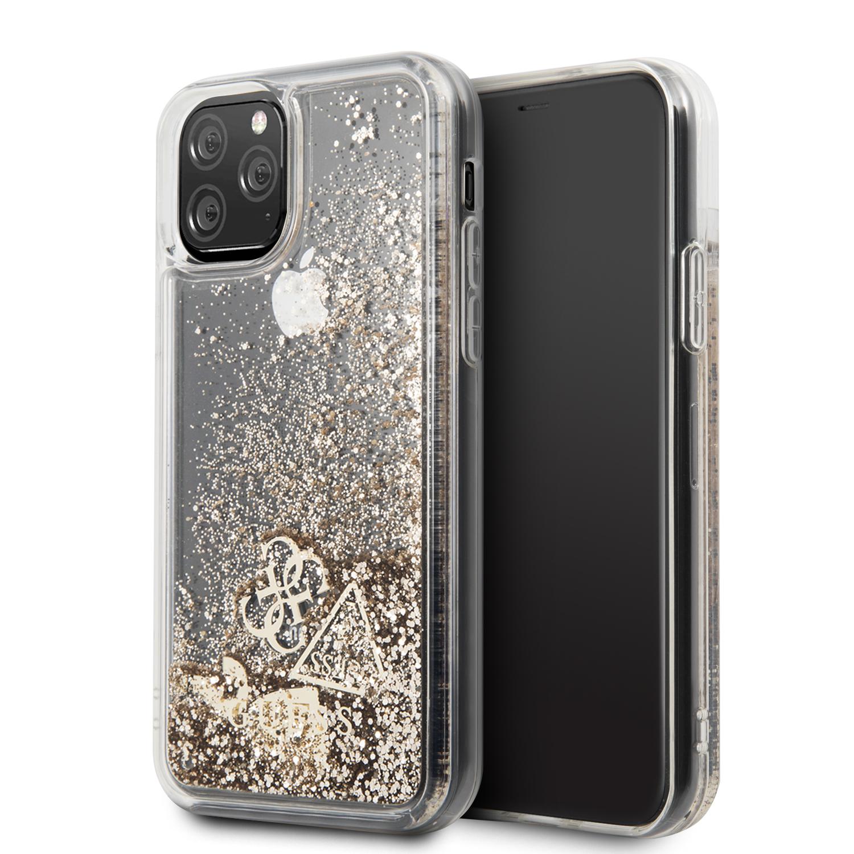 GUHCN58GLHFLGO Guess Glitter Hearts Zadní Kryt pro iPhone 11 Pro Gold 3700740461877