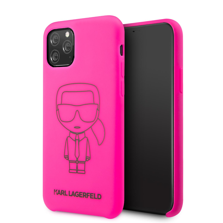KLHCN58SILFLPI Karl Lagerfeld Silikonový Kryt pro iPhone 11 Pro Black Out Pink 3700740460917