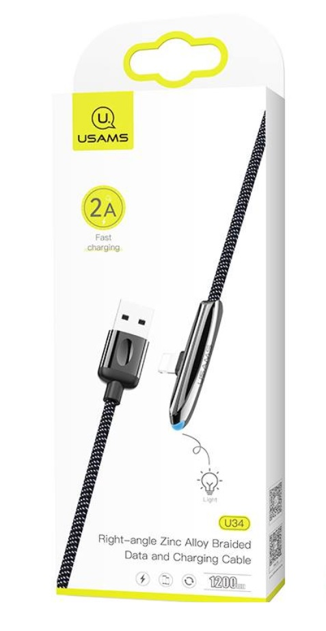 USAMS SJ362 U34 Zinc Alloy Datový Kabel Lightning Black