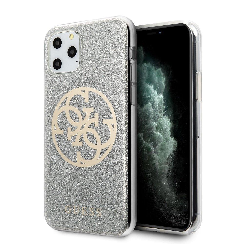 GUHCN65PCUGLLG Guess 4G Glitter Circle Zadní Kryt pro iPhone 11 Pro Max Light Grey 3700740469668