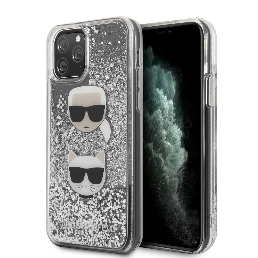 KLHCN65KCGLSL Karl Lagerfeld Heads Glitter Kryt pro iPhone 11 Pro Max Silver 3700740475614