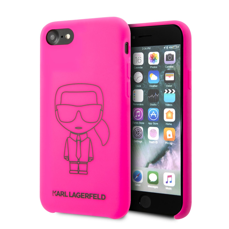 KLHCI8SILFLPI Karl Lagerfeld Silikonový Kryt Ikonic Kryt pro iPhone 8/SE2020 Pink 3700740468715