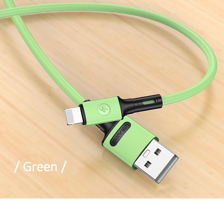 USAMS SJ434 U52 Nabíjecí a Datový Kabel Lightning 1m Green