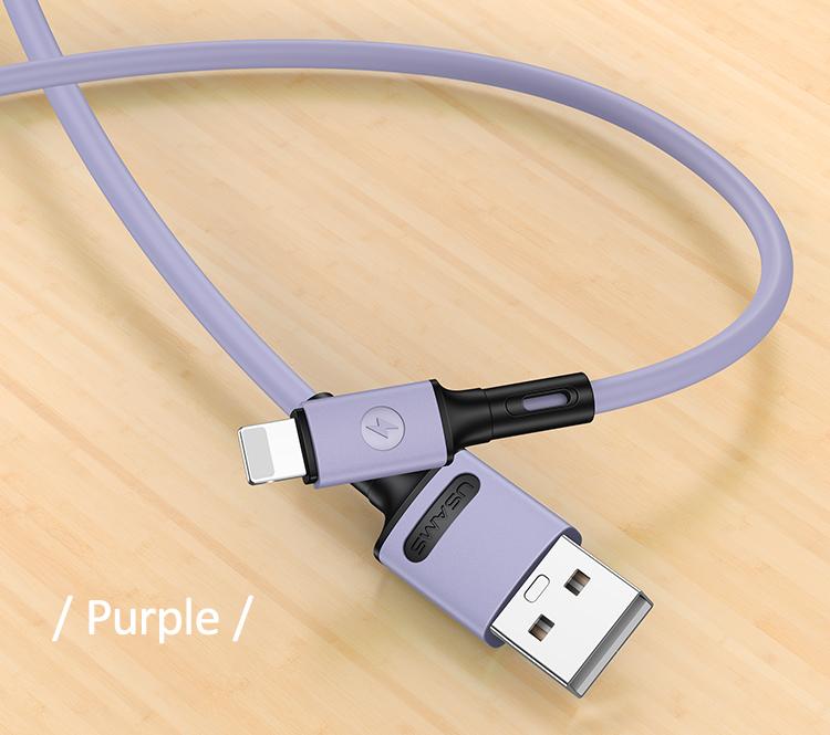 USAMS SJ434 U52 Nabíjecí a Datový Kabel Lightning 1m Purple