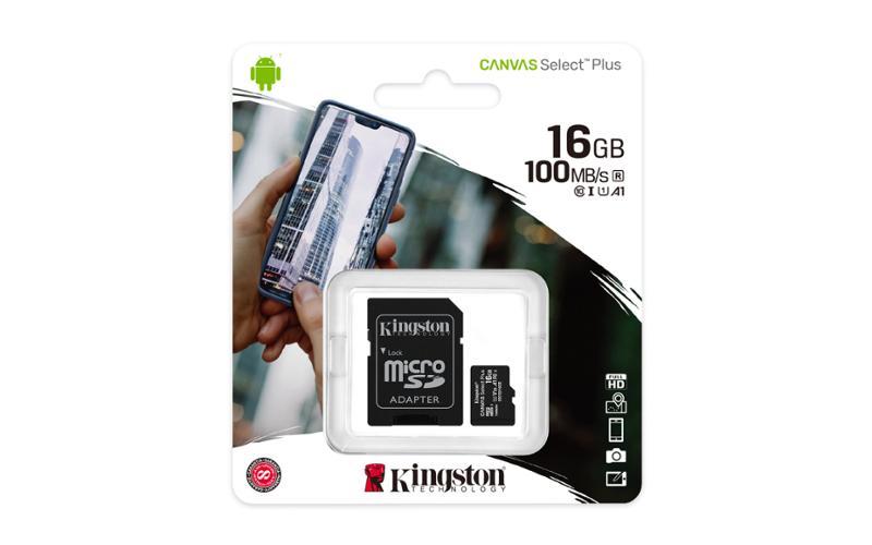 microSDHC 16GB Kingston Canvas Select + w/a