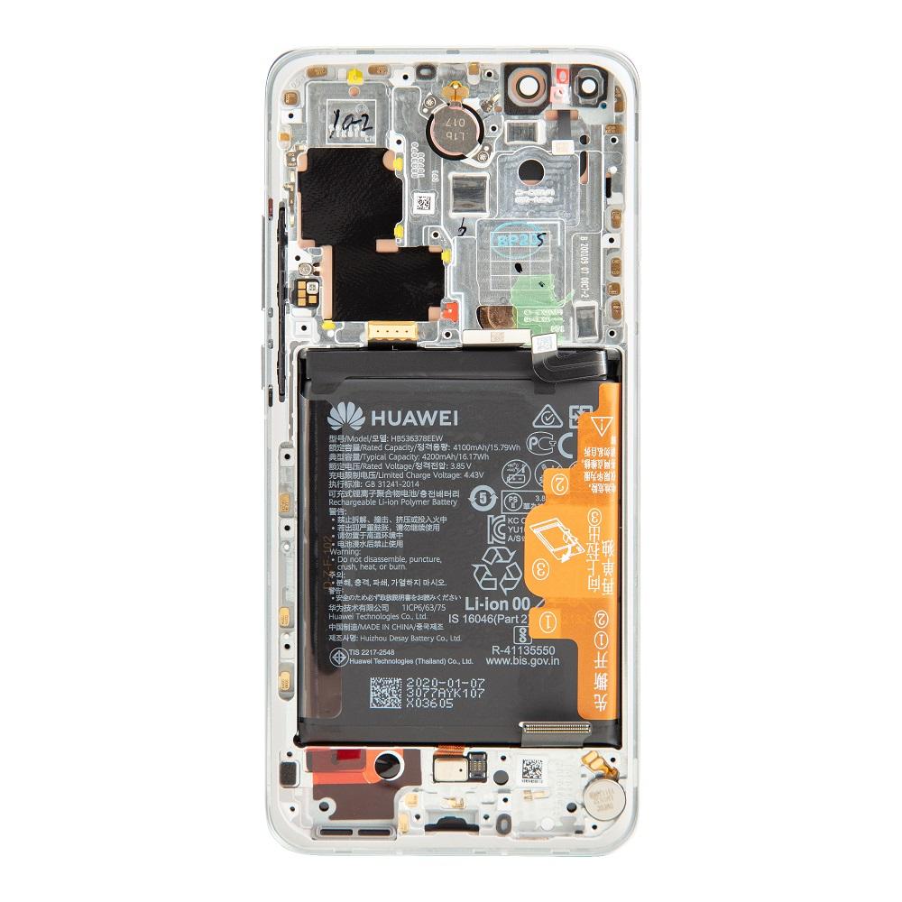 Huawei P40 Pro LCD Display + Dotyková Deska + Přední Kryt Ice White (Service Pack)