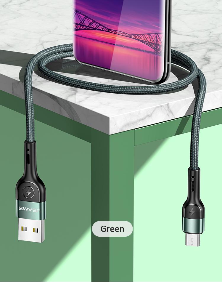 USAMS SJ450 U55 Datový Kabel Braided microUSB Green 1m