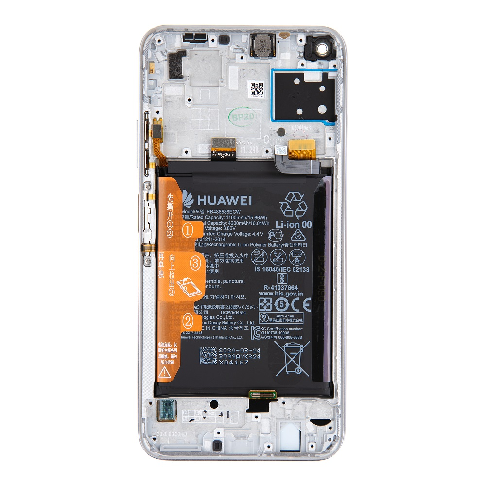 Huawei P40 Lite LCD Display + Dotyková Deska + Přední Kryt Breathing Crystal (Service Pack)