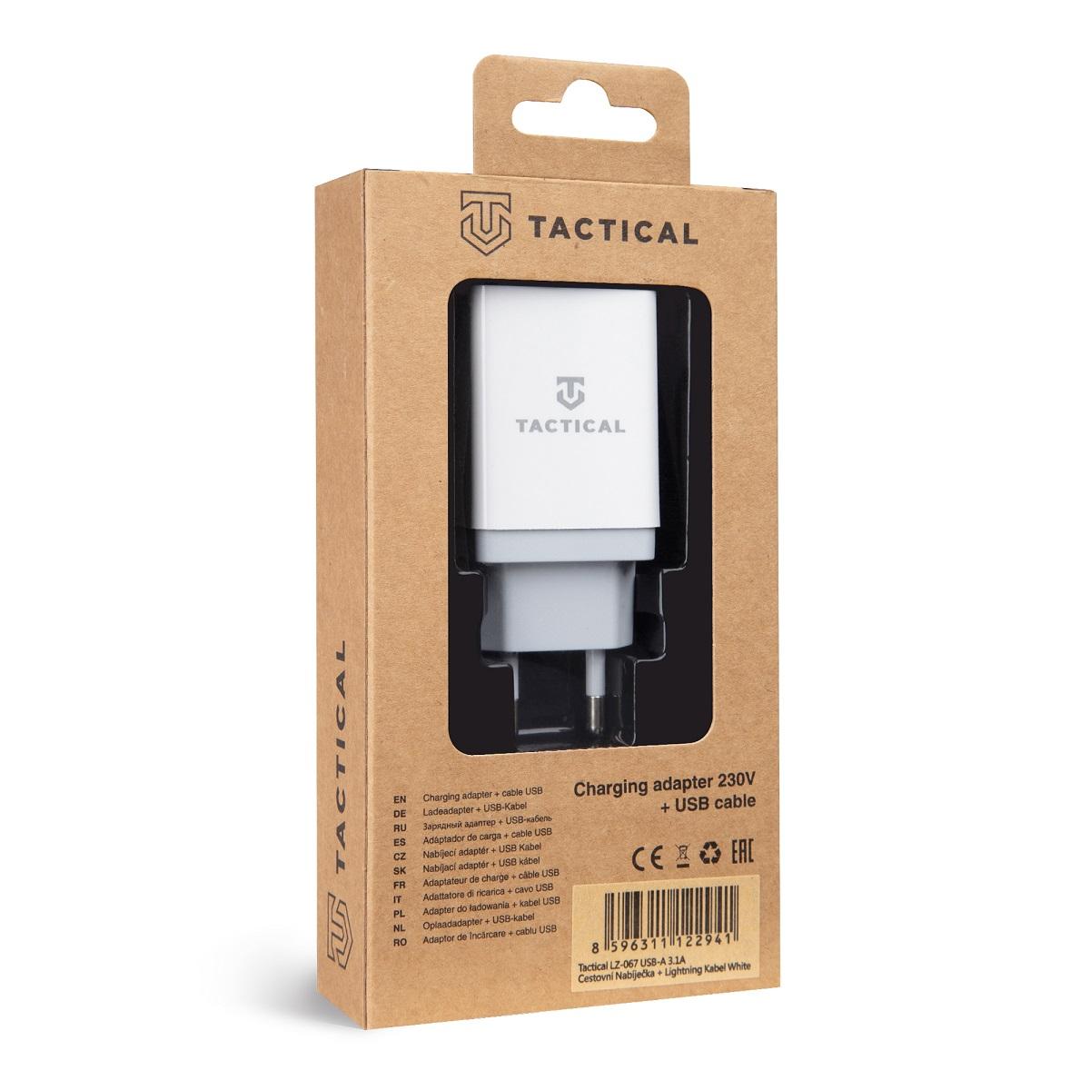 Tactical LZ-067 USB-A 3.1A Cestovní Nabíječka + Kabel pro iPhone White 8596311122941