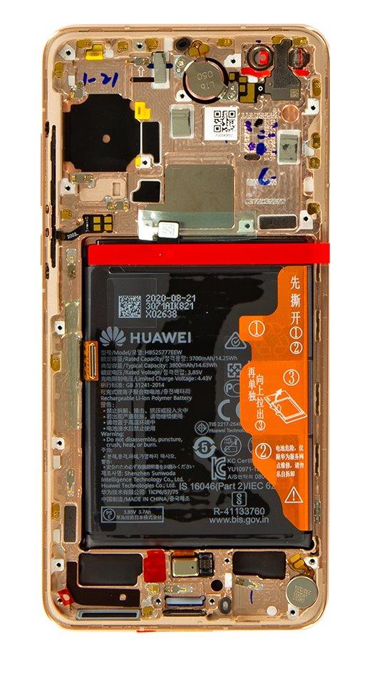 Huawei P40 LCD Display + Dotyková Deska + Přední Kryt Blush Gold (Service Pack)