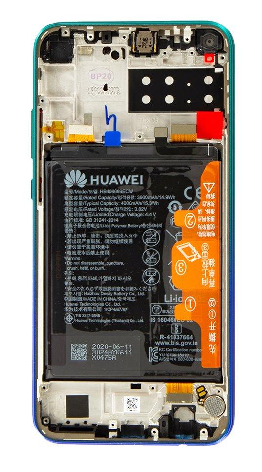 Huawei P40 Lite E LCD Display + Dotyková Deska + Přední Kryt Aurora Blue (Service Pack)
