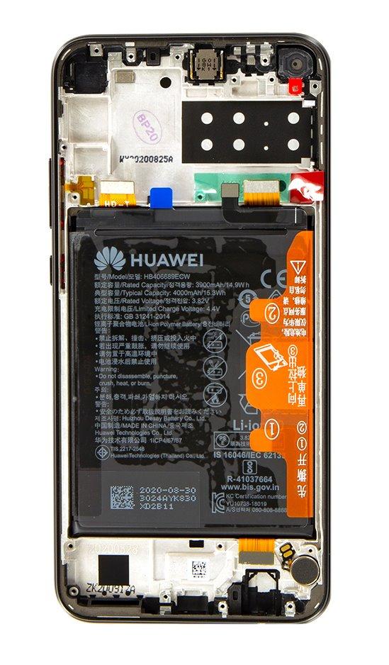 Huawei P40 Lite E LCD Display + Dotyková Deska + Přední Kryt Midnight Black (Service Pack)