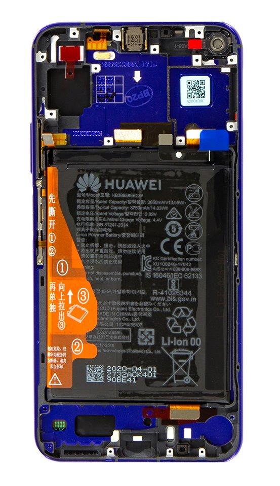 Huawei Nova 5T LCD Display + Dotyková Deska + Přední Kryt Purple (Service Pack)