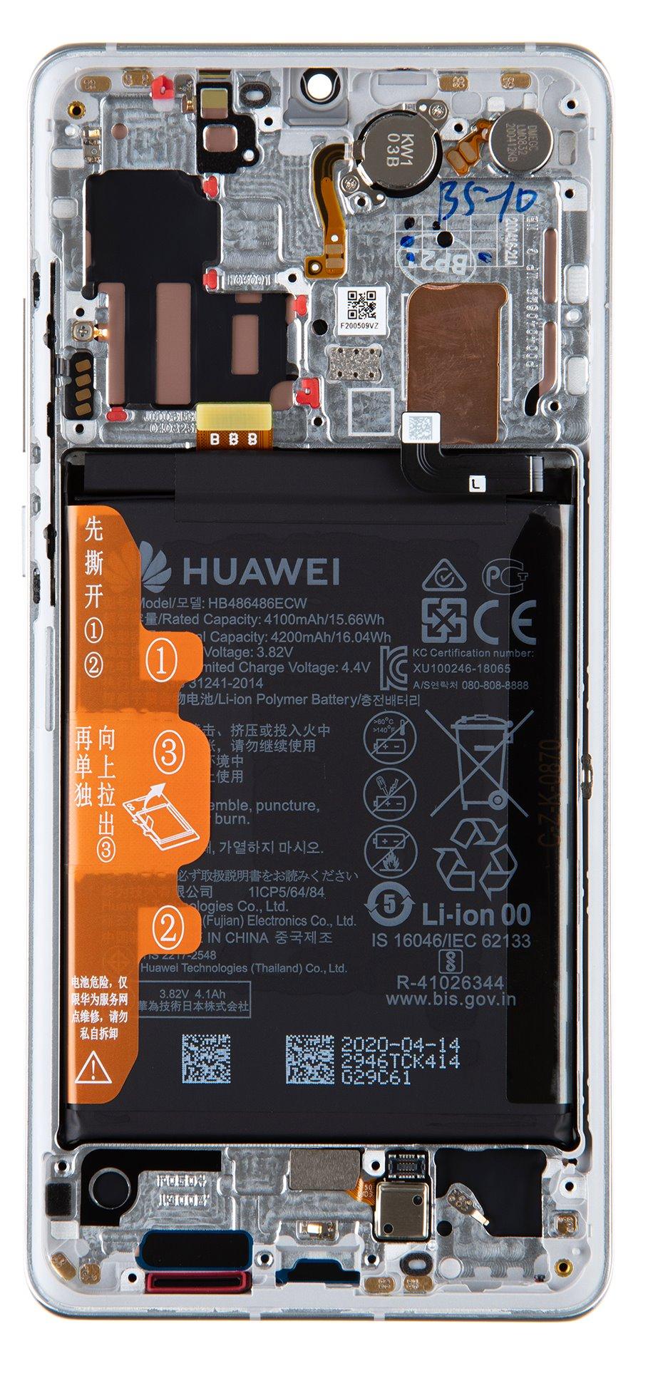 Huawei P30 PRO LCD Display + Dotyková Deska + Přední Kryt Silver Frost (Service Pack)