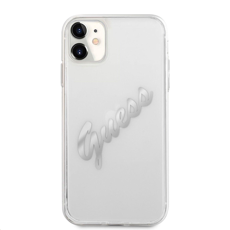 GUHCN61KTRSVSI Guess PU Vintage Script Silver Logo Zadní Kryt pro iPhone 11 Transparent 3666339006181