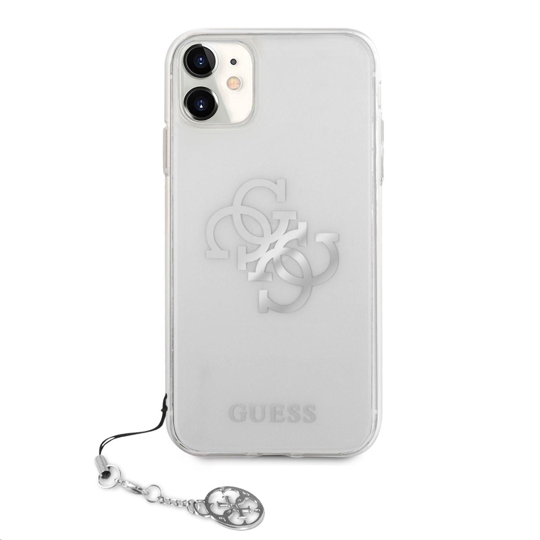 GUHCN61KS4GSI Guess TPU Big 4G Logo Silver Zadní Kryt pro iPhone 11 Transparent 3666339006273