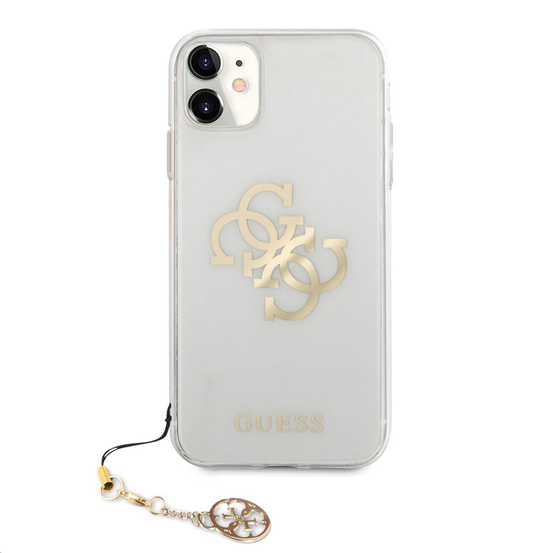 GUHCN61KS4GGO Guess TPU Big 4G Logo Gold Zadní Kryt pro iPhone 11 Transparent 3666339006242