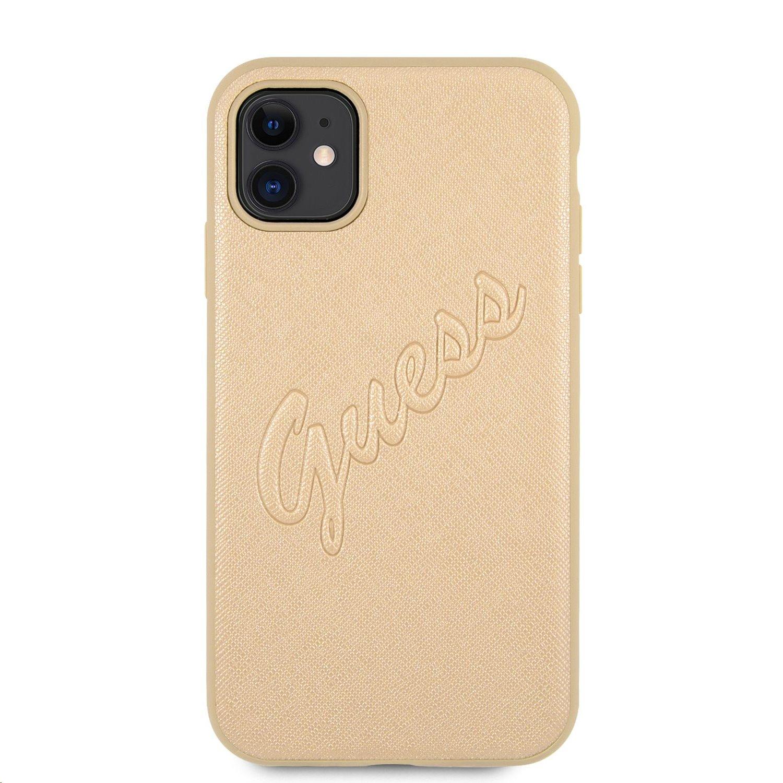 GUHCN61RSAVSLG Guess PU Saffiano Vintage Script Zadní Kryt pro iPhone 11 Gold 3666339006150