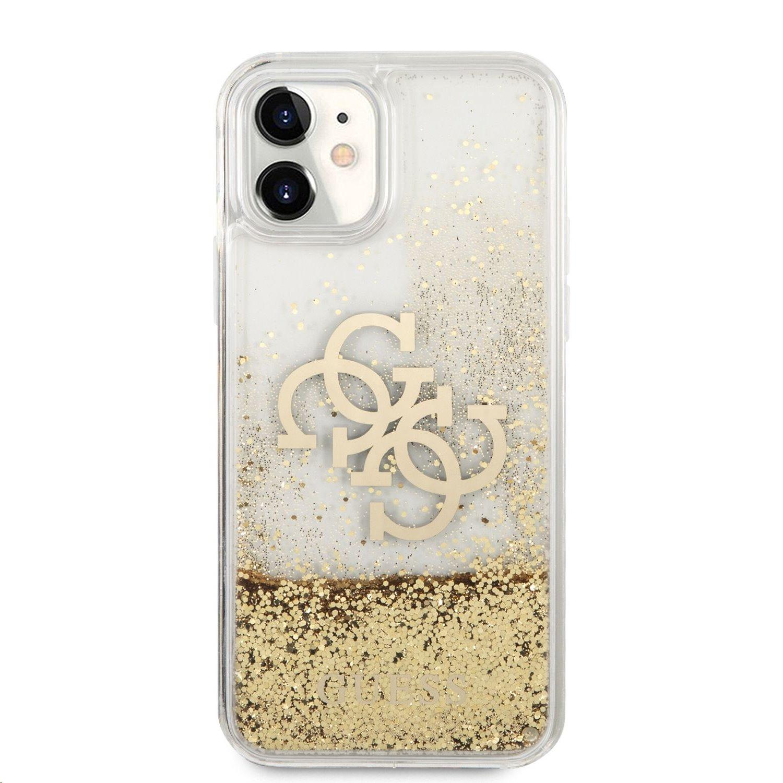 GUHCN61LG4GGO Guess TPU Big 4G Liquid Glitter Gold Zadní Kryt pro iPhone 11 Transparent 3666339006334