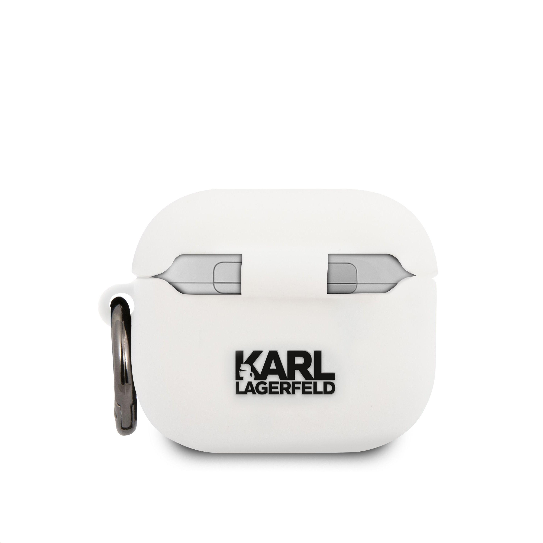 KLACA3SILKHWH Karl Lagerfeld Karl Head Silikonové Pouzdro pro Airpods 3 White 3666339009366