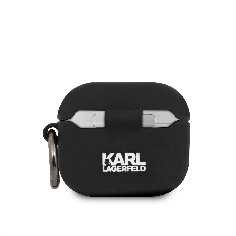 KLACA3SILRSGBK Karl Lagerfeld Rue St Guillaume Silikonové Pouzdro pro Airpods 3 Black 3666339009380