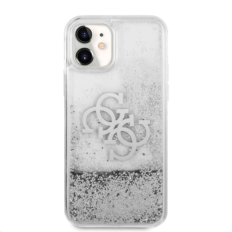 GUHCN61LG4GSI Guess TPU Big 4G Liquid Glitter Silver Zadní Kryt pro iPhone 11 Transparent 3666339006303