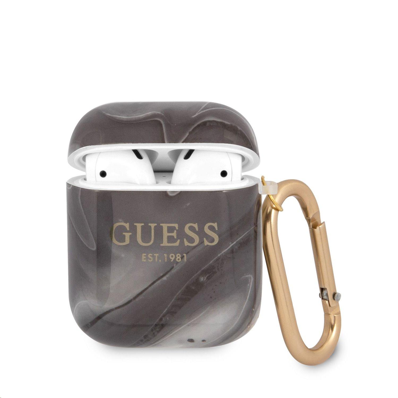GUA2UNMK Guess TPU Shiny Marble Pouzdro pro Airpods 1/2 Black 3666339010140