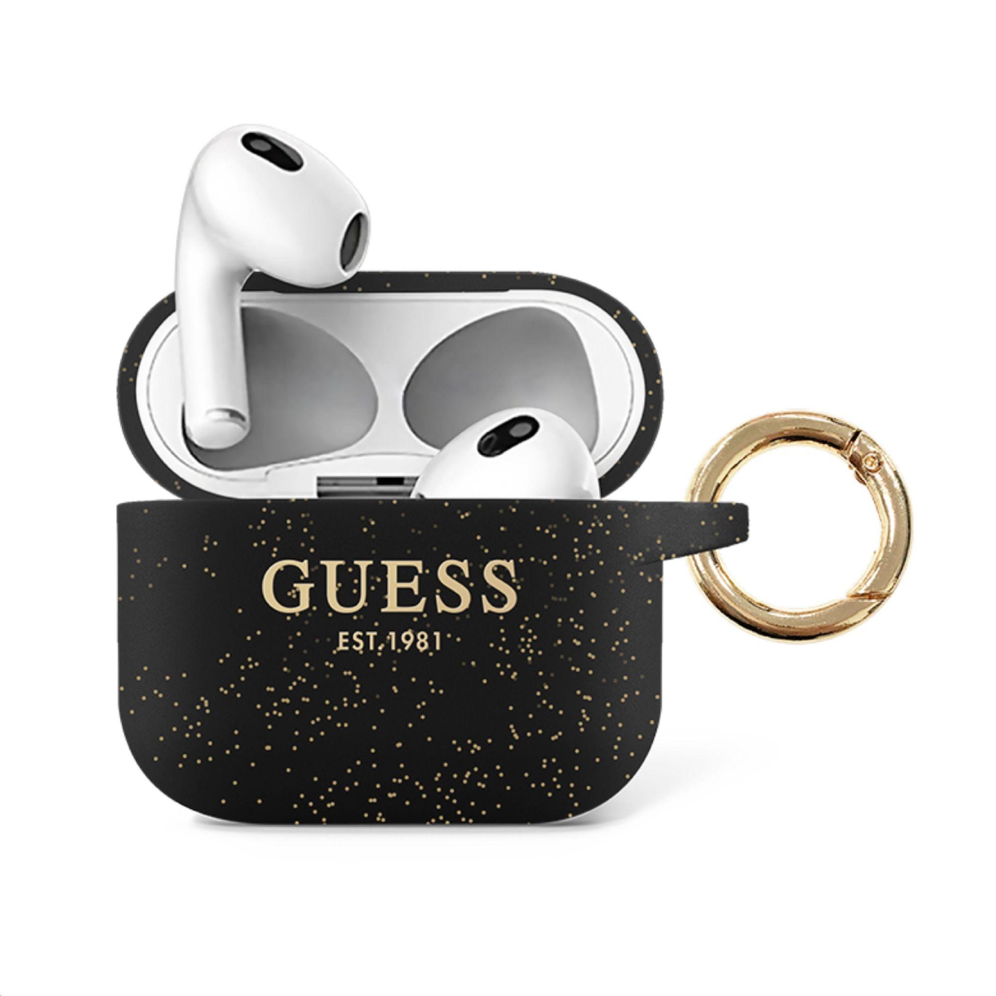 GUA3SGGEK Guess Glitter Printed Logo Silikonové Pouzdro pro Airpods 3 Black 3666339010287
