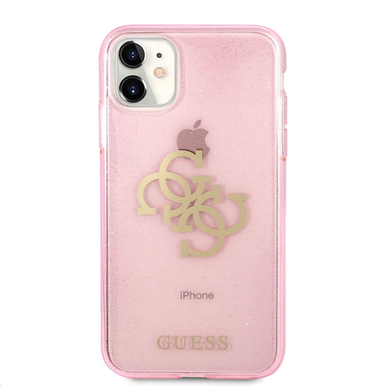 GUHCN61PCUGL4GPI Guess TPU Big 4G Full Glitter Zadní Kryt pro iPhone 11 Pink 3666339006457