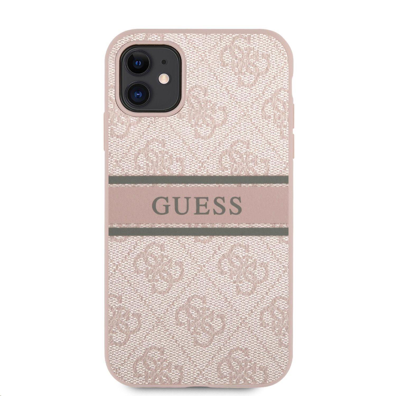 GUHCN614GDPI Guess PU 4G Printed Stripe Zadní Kryt pro iPhone 11 Pink 3666339005528