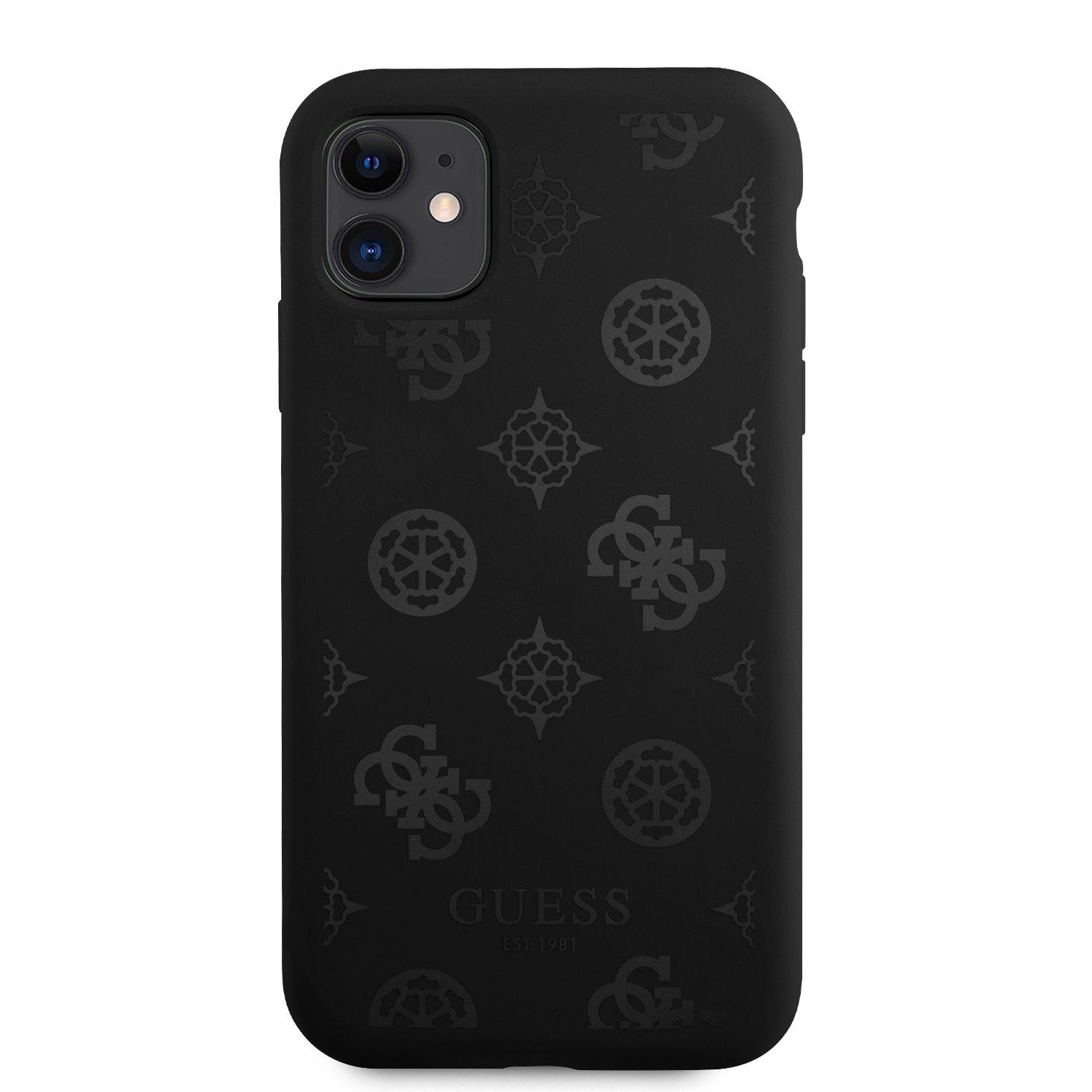 GUHCN61LSPEBK Guess Liquid Silicone Tone on Tone Peony Zadní Kryt pro iPhone 11 Black 3666339005887