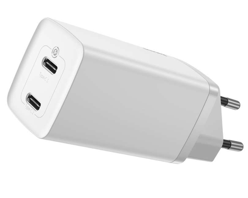 Baseus CCGAN2L-E02 GaN2 Lite Quick Charger Dual USB-C 65W White 6953156233003