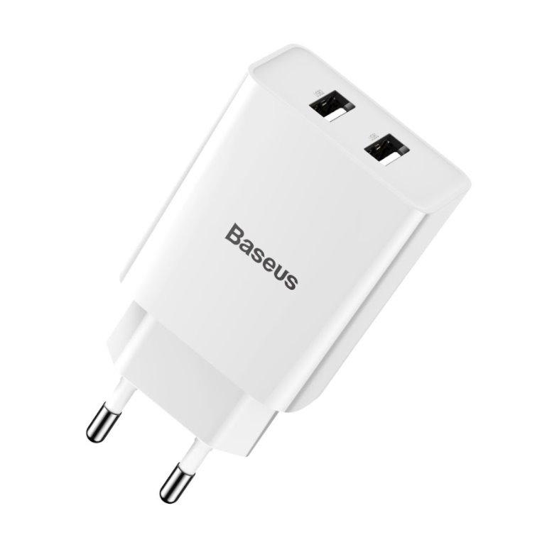 Baseus CCFS-R02 Speed Mini Dual USB Nabíječka 10.5W White 6953156216433