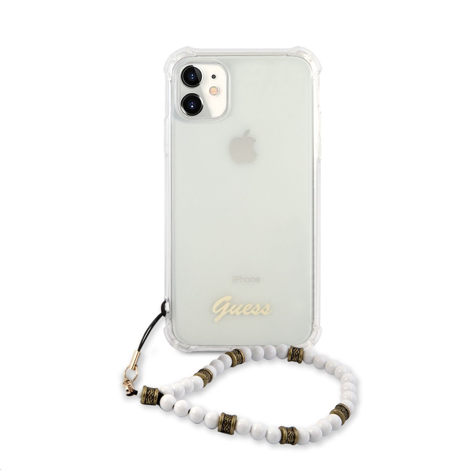 GUHCN61KPSWH Guess PC Script and White Pearls Zadní Kryt pro iPhone 11 Transparent 3666339005702