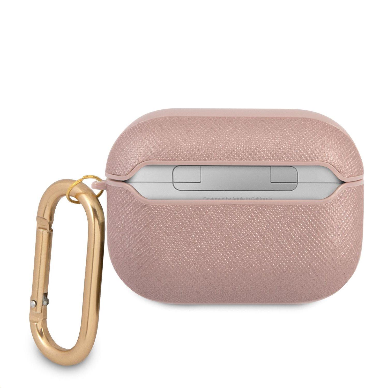 GUAPSASMP Guess Saffiano PC/PU Metal Logo Pouzdro pro Airpods Pro Pink 3666339009823
