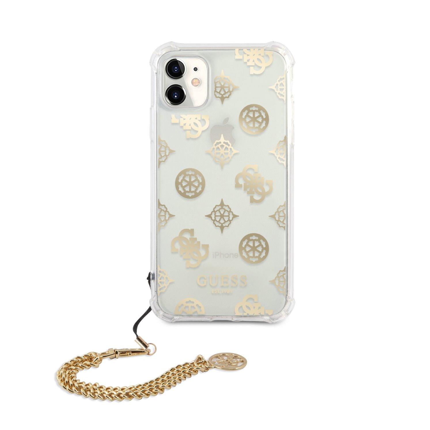 GUHCN61KSPEGO Guess PC Chain Peony Zadní Kryt pro iPhone 11 Gold 3666339005764